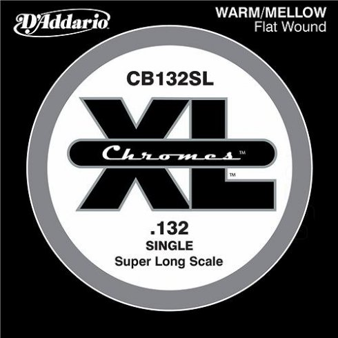 D'Addario CB132SL Chromes XL Flatwound Bass Single String .132 Super Long