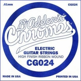 D'Addario CG024 Chromes Flatwound Electric Guitar Single String .024