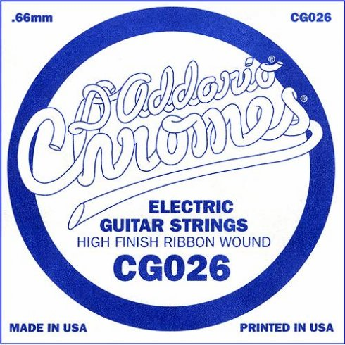 D'Addario CG026 Chromes Flatwound Electric Guitar Single String .026