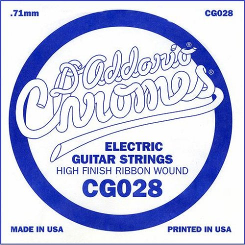 D'Addario CG028 Chromes Flatwound Electric Guitar Single String .028