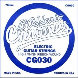 D'Addario CG030 Chromes Flatwound Electric Guitar Single String .030