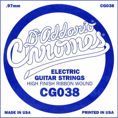 D'Addario CG038 Chromes Flatwound Electric Guitar Single String .038