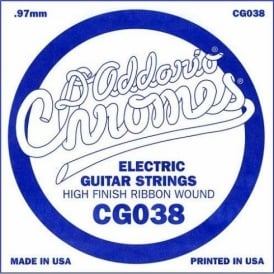 D'Addario CG038 Chromes Flatwound Electric Guitar Single String .038
