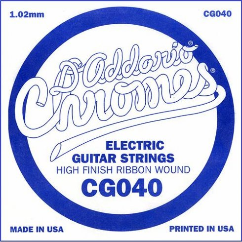 D'Addario CG040 Chromes Flatwound Electric Guitar Single String .040