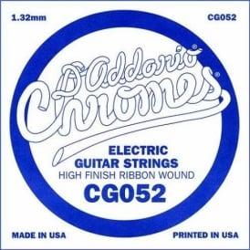 D'Addario CG052 Chromes Flatwound Electric Guitar Single String .052 Gauge