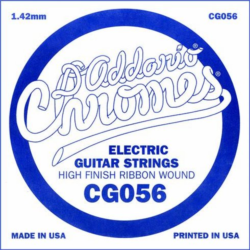 D'Addario CG056 Chromes Flatwound Electric Guitar Single String .056