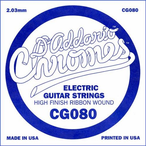 D'Addario CG080 Chromes Flatwound Electric Guitar Single String .080