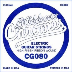 D'Addario CG080 Chromes Flatwound Electric Guitar Single String .080