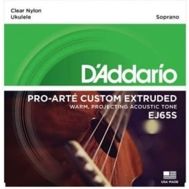D'Addario EJ65S Pro-Arté Custom Extruded Ukulele Soprano Strings ADF#B Tuning