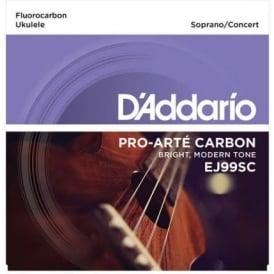 D'Addario EJ99SC Pro-Arte Carbon Ukulele Soprano/Concert Strings for GCEA Tuning