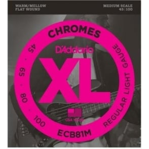 D'Addario 4-String ECB81M Flatwound Chromes 45-100 Medium Scale Bass Guitar Strings