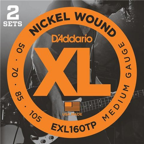 D'Addario 4-String EXL160TP Nickel Wound Bass Guitar Strings 50-105 Twin Pack