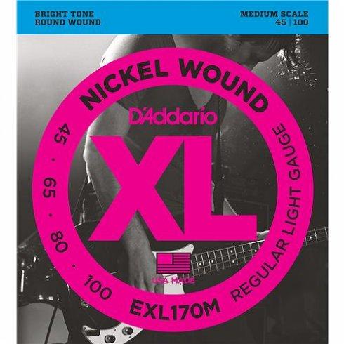 D'Addario 4-String EXL170M Nickel Wound 45-100 Medium Scale Bass Guitar Strings