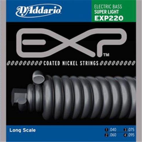 D'Addario 4-String EXP220 Extended Play 40-95 Long Scale Bass Guitar Strings Super Light