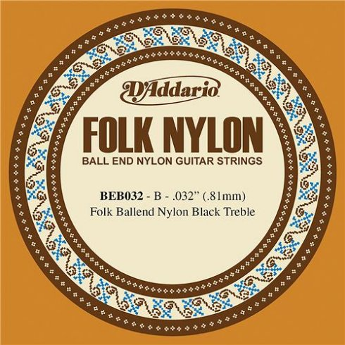 D'Addario BEB032 Black Nylon Ball End Folk Guitar Single String .032 2-B