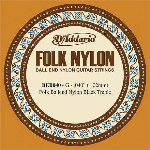 D'Addario BEB040 Black Nylon Ball End Folk Guitar Single String .040 3-G