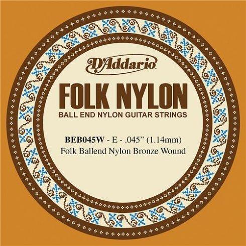 D'Addario BEB045w 80/20 Bronze Ball End Folk Guitar Single String .045 6-E