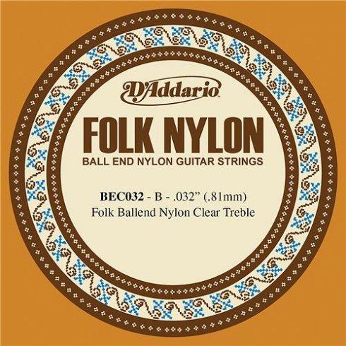 D'Addario BEC032 Clear Nylon Ball End Folk Guitar Single String .032 2-B