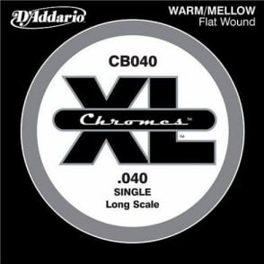 D'Addario CB040 Chromes XL Flatwound Bass Single String .040 Long Scale