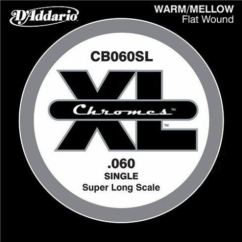 D'Addario CB060SL Chromes XL Flatwound Bass Single String .060 Super Long