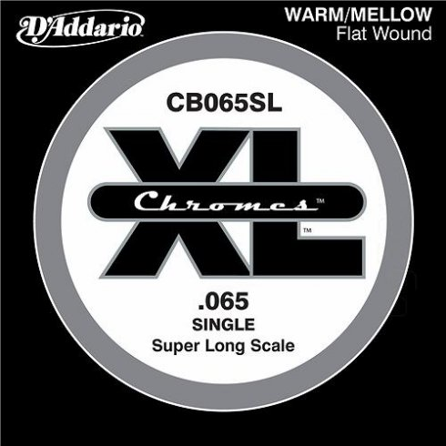 D'Addario CB065SL Chromes XL Flatwound Bass Single String .065 Super Long