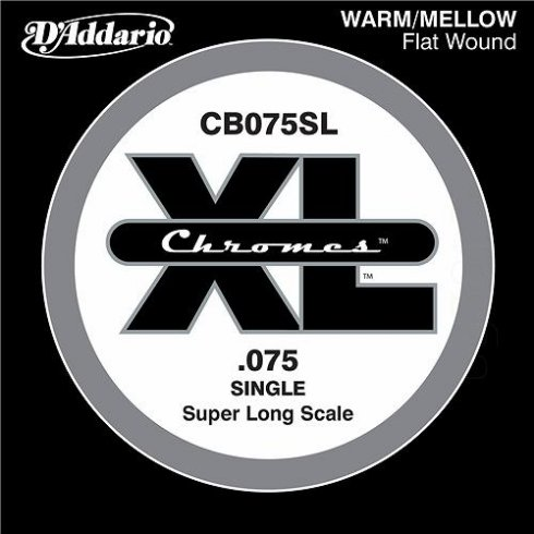 D'Addario CB075SL Chromes XL Flatwound Bass Single String .075 Super Long