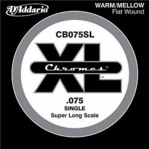 D'Addario CB075SL Chromes XL Flatwound Bass Single String .075 Super Long