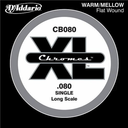 D'Addario CB080 Chromes XL Flatwound Bass Single String .080 Long Scale