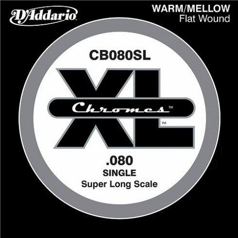 D'Addario CB080SL Chromes XL Flatwound Bass Single String .080 Super Long