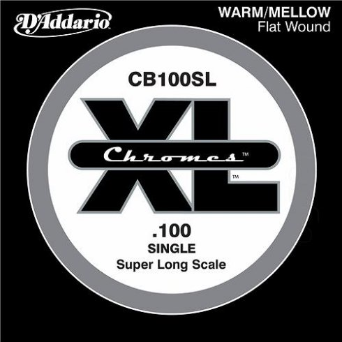 D'Addario CB100SL Chromes XL Flatwound Bass Single String .100 Super Long