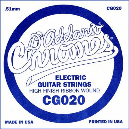D'Addario CG020 Chromes Flatwound Electric Guitar Single String .020 Gauge