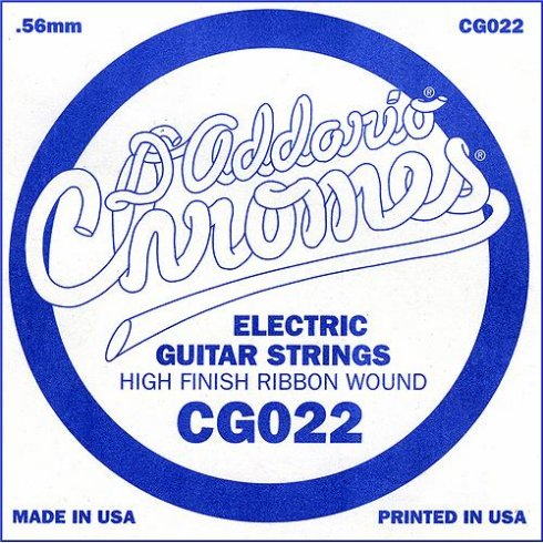 D'Addario CG022 Chromes Flatwound Electric Guitar Single String .022