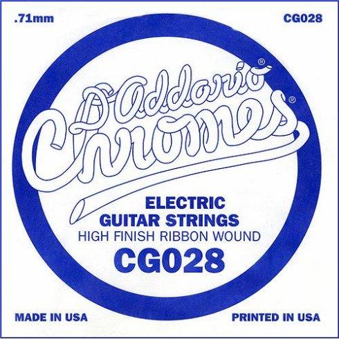 D'Addario CG028 Chromes Flatwound Electric Guitar Single String .028