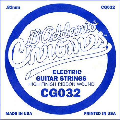 D'Addario CG032 Chromes Flatwound Electric Guitar Single String .032
