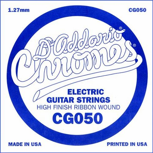 D'Addario CG050 Chromes Flatwound Electric Guitar Single String .050