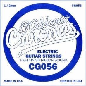 D'Addario CG056 Chromes Flatwound Electric Guitar Single String .056