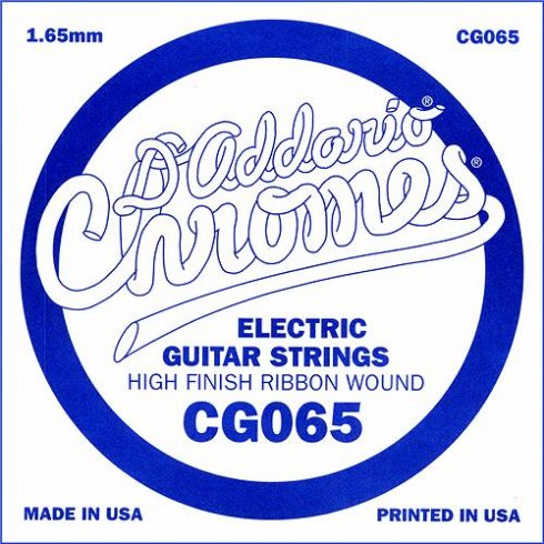 D'Addario CG065 Chromes Flatwound Electric Guitar Single String .065