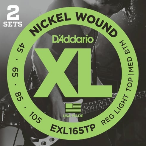 D'Addario 4-String EXL165TP Nickel Wound 45-105 Long Scale Bass String Twin Pack