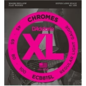 D'Addario 4-String Flatwound Chromes 45-100 Super Long Bass Guitar Strings ECB81SL