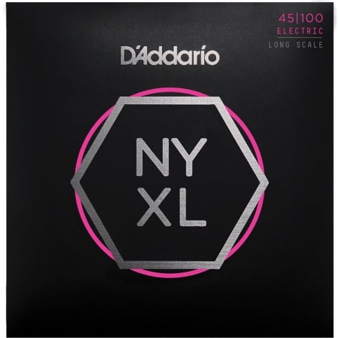 D'Addario 4-String NYXL Bass Guitar Strings - Long Scale 45-100 Gauge NYXL45100