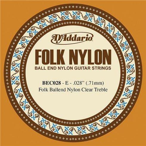 D'Addario BEC028 Clear Nylon Ball End Folk Guitar Single String .028 1-E