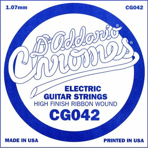 D'Addario CG042 Chromes Flatwound Electric Guitar Single String .042