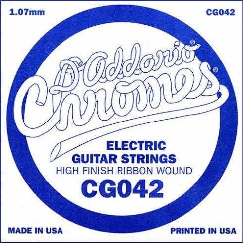 D'Addario CG042 Chromes Flatwound Electric Guitar Single String .042