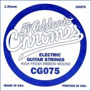 D'Addario CG075 Chromes Flatwound Electric Guitar Single String .075 Gauge