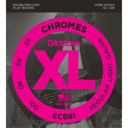 D'Addario ECB81 4-String Flatwound Chromes 45-100 Long Scale Bass Strings