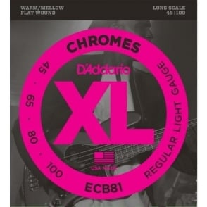 D'Addario ECB81 4-String Flatwound Chromes 45-100 Long Scale Bass Strings
