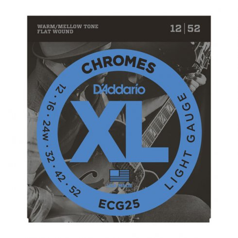 D'Addario ECG25 Flatwound Chromes 12-52 Light Electric Guitar Strings