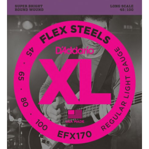 D'Addario EFX170 4-String FlexSteels Bass Guitar Strings 45-100 Long Scale
