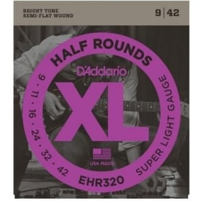 D'Addario EHR320 Half Rounds Stainless Steel Electric Guitar Strings 09-42 Super Light