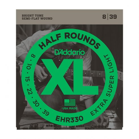 D'Addario EHR330 Half Rounds Stainless Steel Electric Guitar Strings 08-39 X-Super Light
